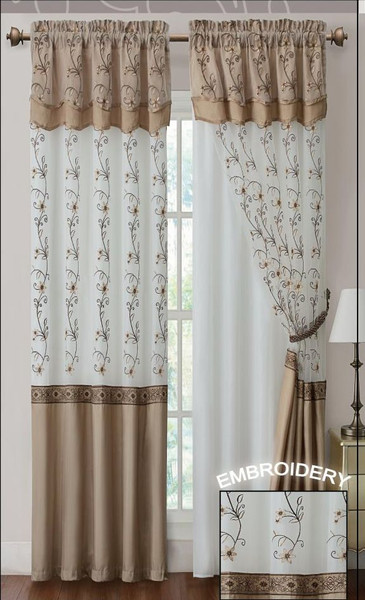 """Gold and Linen Two Piece Window Curtain Drapery Sheer Panel w/ Attached Backing and Valance 57""""x90"""" each"""