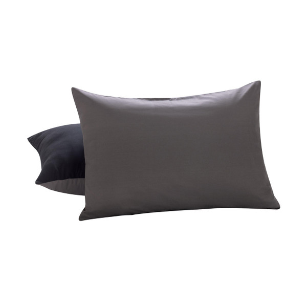 2 Piece Reversible Pillow Case Shams: Standard/Queen, Gray and Black
