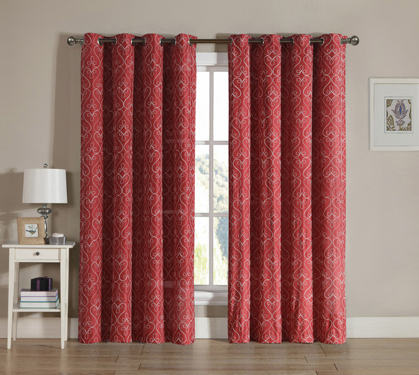 Red Grommet Window Curtain 2 Pc Set: White Swirl Design Embroidery   bathroomandmore