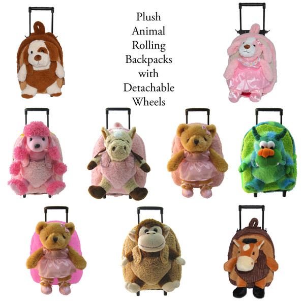 2-in-1 Brown Kids Plush Rolling Carry-On Luggage/Backpack with Telescopic Handle and Stuffed Puppy