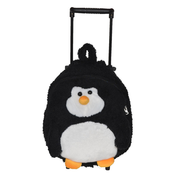 2-in-1 Black Penguin Kids Plush Rolling Carry-On Luggage/Backpack with Removable Telescopic Handle