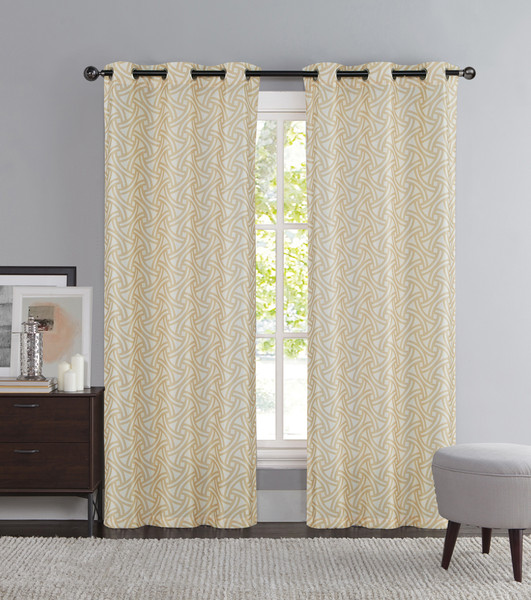 """Taupe and Ivory Two Piece Window Curtain Panels: Grommets, iKat Geometric Design, 76"""" x 84"""" Long"""