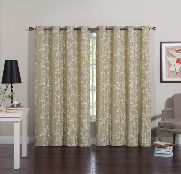 "Two Piece Taupe Grommet Window Curtain Panel Set:  White Embroidered Vine and Leaf Design, Total Size 110"" x 84"""