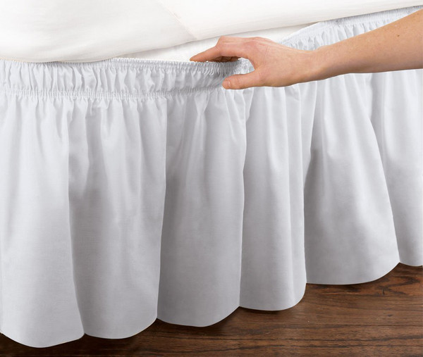 White Elastic Ruffled Bed Skirt: Wrap Around Easy Fit, Queen or King Size