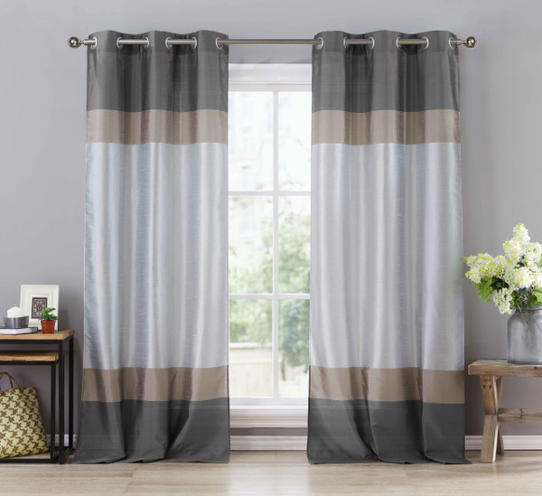 """Two (2) Silver Gray and Taupe Window Curtain Panels: Faux Silk, Silver Grommets, 78"""" x 96"""""""