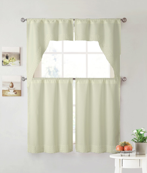 Beige 4 Piece Kitchen Window Curtain Set: Lace Border, 2 Swag and 2 Tier Panels (Beige)
