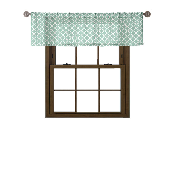 Seafoam Green & White Window Curtain Valance: Moroccan Tile Design 100% Cotton 58in W x 15in L