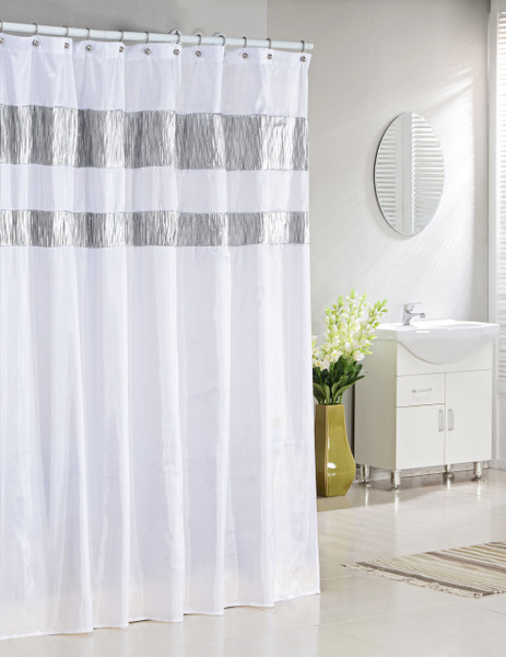"""Bathroom and More Collection Pure White Fabric Shower Curtain with Silver Metallic Accent Stripes (72"""" W x 72"""" L STANDARD)"""