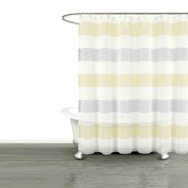 "Bathroom and More Collection SHEER Fabric Shower Curtain White, Yellow Gray Cabana Stripe Design (Shower Curtain 72"" Long)"