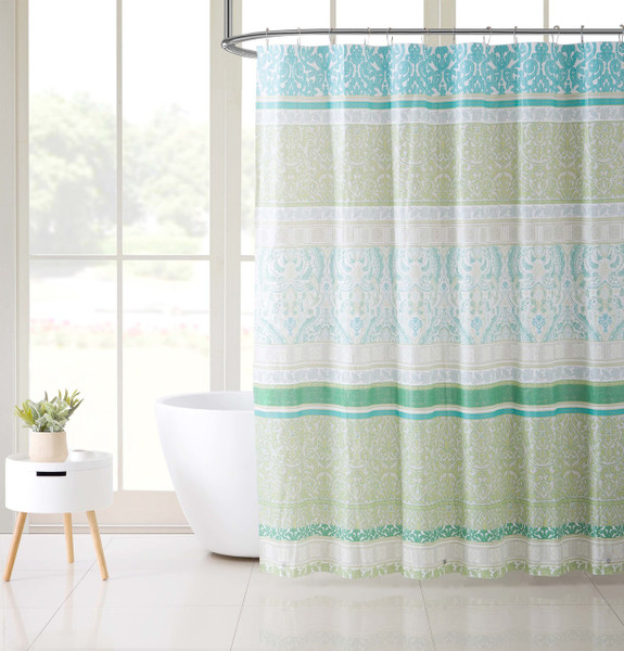 Blue and Green PEVA Shower Curtain Liner Odorless, PVC and Chlorine Free, Biodegradable, Mildew Free, Eco-Friendly Size 72in x 72in