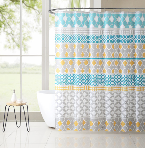 PEVA Shower Curtain Liner Odorless, PVC and Chlorine Free, Biodegradable, Mildew Free, Eco-Friendly Size 72in x 72in (Jordan Blue & Gold)
