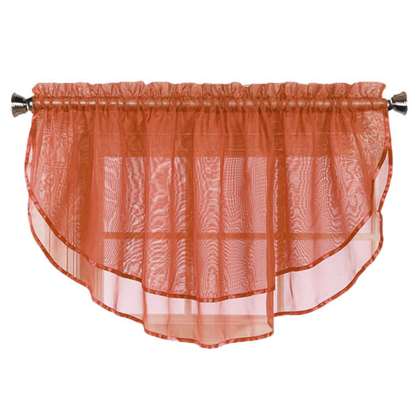 Sheer Voile Valance Curtain for Windows Size 54 in X 24 in Scalloped with Ribbon for Kitchens, Living Room, Dining Room, Bathroom, Bay Windows, Basement, Laundry Room (Cinnamon/Rust)
