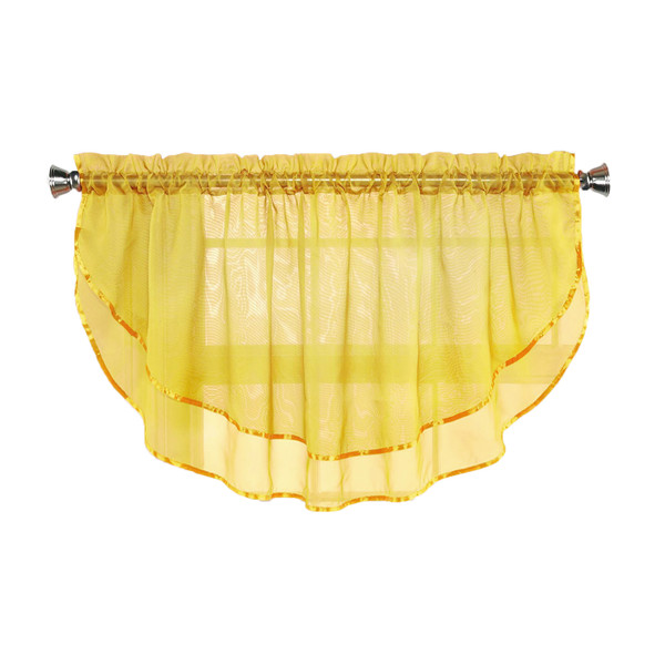 Sheer Voile Valance Curtain for Windows Size 54 in X 24 in Scalloped with Ribbon for Kitchens, Living Room, Dining Room, Bathroom, Bay Windows, Basement, Laundry Room (Yellow)