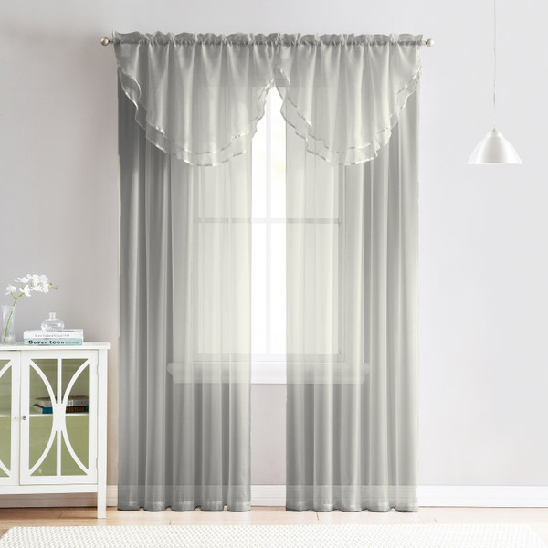4 Piece Sheer Window Curtain Set for Living Room, Dining Room, Bay Windows: 2 Voile Valance Curtains and 2 Panels 84 in Long (Silver)