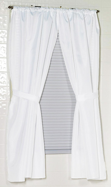 """White Fabric Window Curtain: 54""""L, Ideal for Bathrooms and Small Windows, 2 panels and 2 Tiebacks"""