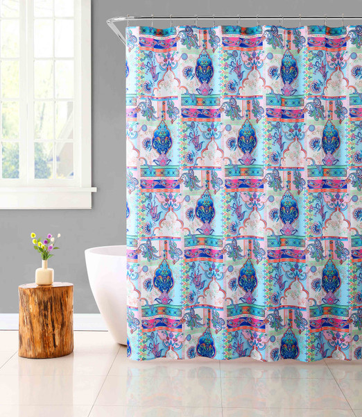 Fabric Shower Curtain for Bathroom Colorful Bohemian Design with Chrome Roller Ball Set 72IN x72 IN