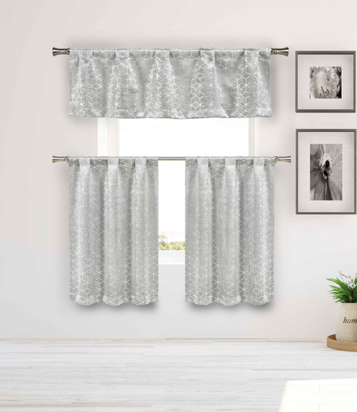 Blackout Privacy Gray 3 Piece Window Curtain Set with Silver Metallic Cube Design, One Valance, Two Tiers 36 IN Long. Kitchen, Bathroom, Small Window, Motor Home, Boat