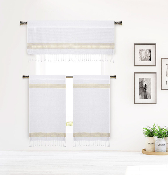 White and Gold Stripe Design 3 Piece Window Curtain Set with Tassels, One Valance, Two Tiers 36 IN Long, Cotton