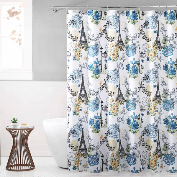 Fabric Shower Curtain for Bathroom White Navy and Black with Eiffel Tower Paris Design 72IN x72 in