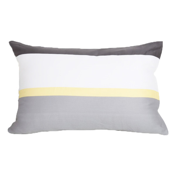 "Set of Two White Gray and Yellow Pillowcase Sham Covers Stripe Design 100% Cotton (King 20"" x 36"")"