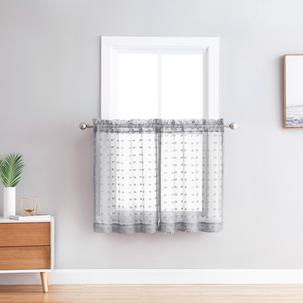 Bathroom and More Collection Sheer 2 Piece Window Curtain Café/Tier Set: 3-D Small Soft Tufts Design, 36in Long Each Tiers (Set of 2) (Silver/Light Gray)