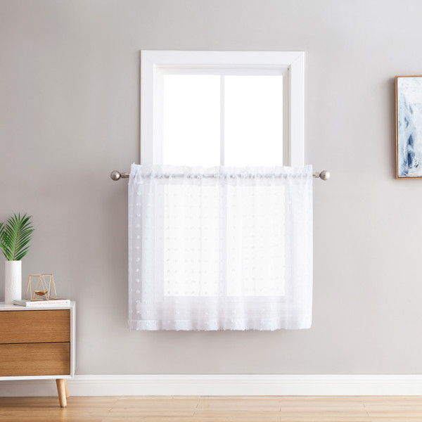 Bathroom and More Collection Sheer 2 Piece Window Curtain Café/Tier Set: 3-D Small Soft Tufts Design, 36in Long Each Tiers (Set of 2) (White)