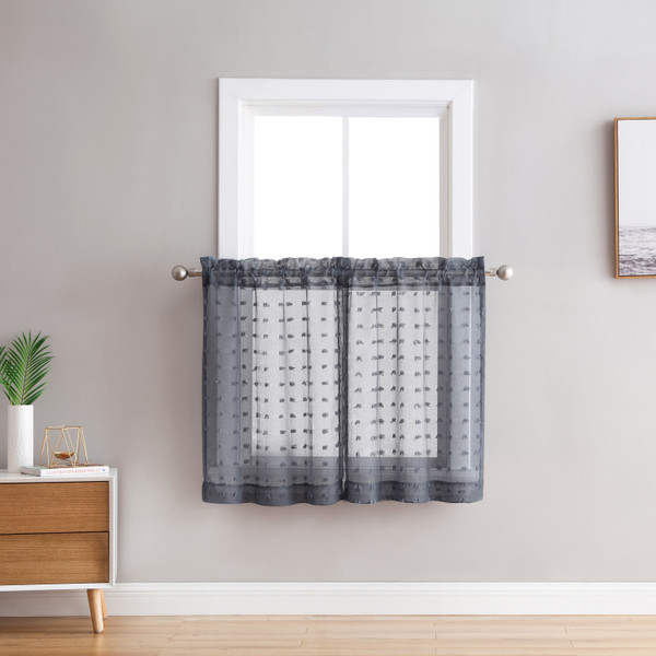 Bathroom and More Collection Sheer 2 Piece Window Curtain Café/Tier Set: 3-D Small Soft Tufts Design, 36in Long Each Tiers (Dark Gray)