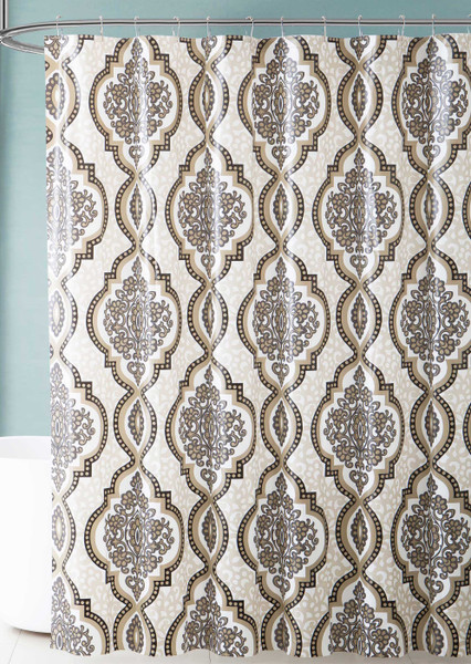 White Black and Taupe Medallion Design PEVA Shower Curtain Liner Odorless, PVC and Chlorine Free, Biodegradable, Mildew Free, Eco-Friendly Size 72in x 72in