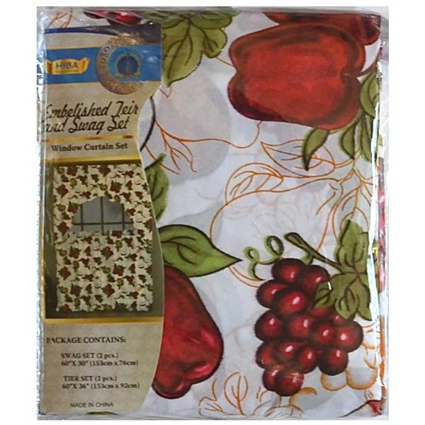 Kitchen Window Curtain Set. 4-Piece Embelished Teir and Swag: FRUITS