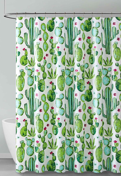 Green Blue Red and White Cactus Design PEVA Shower Curtain Liner Odorless, PVC and Chlorine Free, Biodegradable, Mildew Free, Eco-Friendly Size 72in x 72in