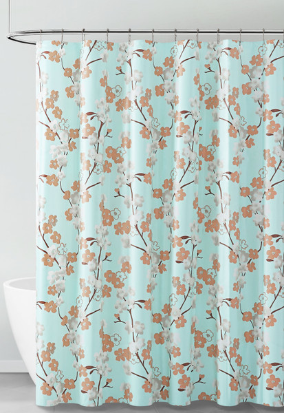 Aqua White and Brown Floral Design PEVA Shower Curtain Liner Odorless, PVC and Chlorine Free, Biodegradable, Mildew Free, Eco-Friendly Size 72in x 72in