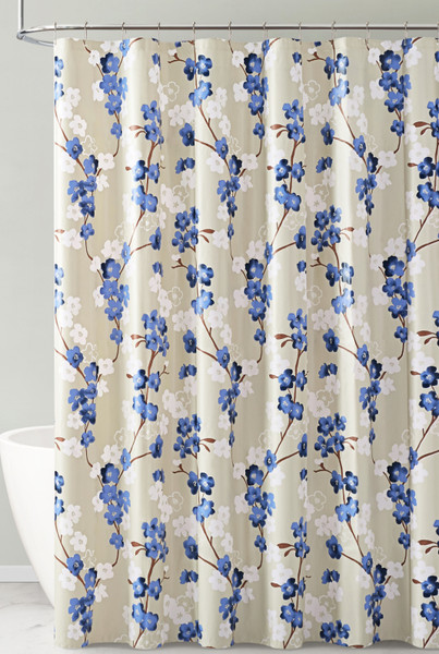 Navy White and Taupe Floral Design PEVA Shower Curtain Liner Odorless, PVC and Chlorine Free, Biodegradable, Mildew Free, Eco-Friendly Size 72in x 72in