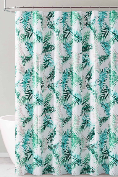 Green Blue and White Tropical Leaf Design PEVA Shower Curtain Liner Odorless, PVC and Chlorine Free, Biodegradable, Mildew Free, Eco-Friendly Size 72in x 72in