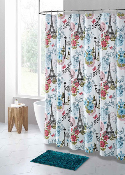 PEVA Shower Curtain Liner Odorless, PVC and Chlorine Free, Biodegradable, Mildew Free, Eco-Friendly Size 72L (Teal and Red Eifel Tower Paris Design)