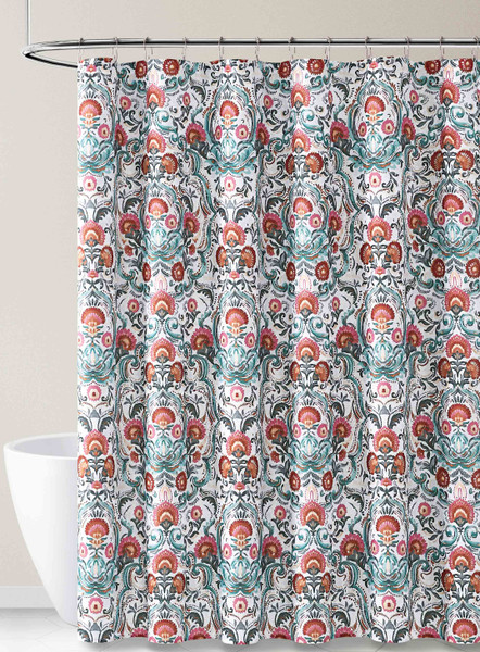 Fabric Shower Curtain for Bathroom White Gray Teal Pink with Kaleidoscope Design 72IN x72 IN