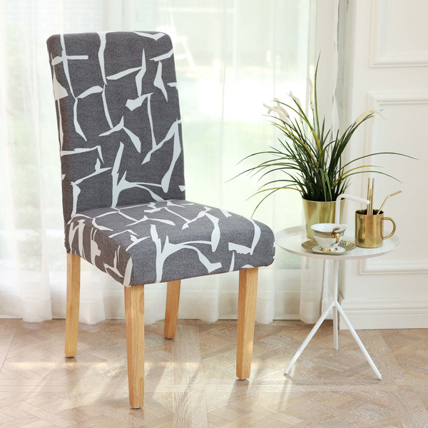 INFINITY COLLECTION 2-PACK Spandex Fabric Stretchable Elastic Chair Protector Cover Removable Washable for Dining, Kitchen, Party, Hotel, Restaurant white Abstract Geometric Design over a Charcoal Gray background