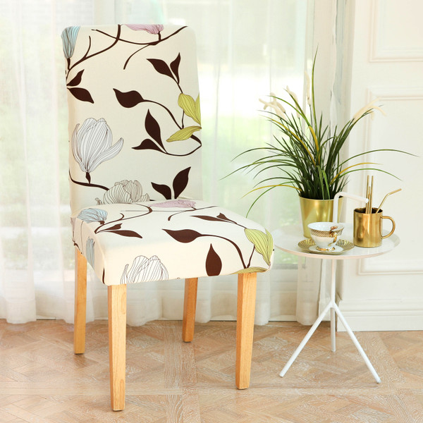 INFINITY COLLECTION 2-PACK Spandex Fabric Stretchable Elastic Chair Protector Cover Removable Washable for Dining, Kitchen, Party, Hotel, Restaurant Pink, Blue and Green flowers with Chocolate Brown Stems and Leaves over a Beige/Cream background