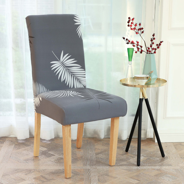 INFINITY COLLECTION 4-PACK Spandex Fabric Stretchable Elastic Chair Protector Cover Removable Washable for Dining, Kitchen, Party, Hotel, Restaurant White and Dark Gray Fern Leaves over a gray background