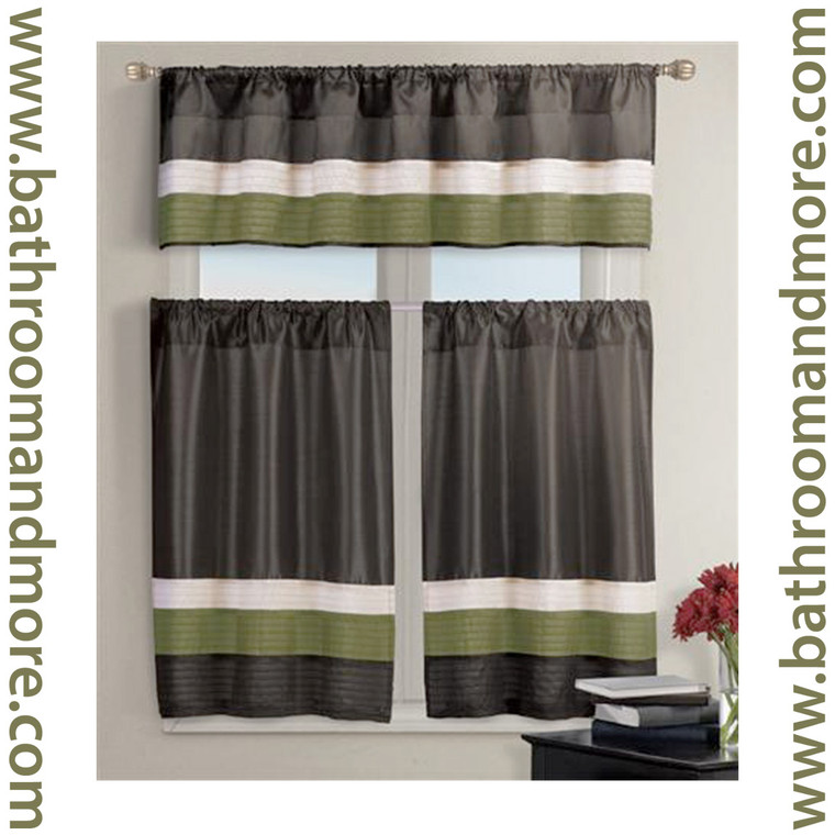 Chocolate Brown with Olive Green Kitchen Window Curtain Set- 1 Valance, 2 Tiers