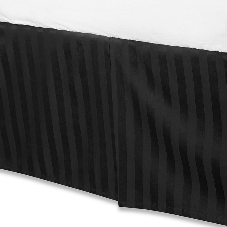 """Black Luxury Bed Skirt: 100% Egyptian Cotton, 500 Thread Count, 15"""" Drop"""