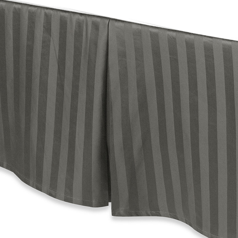 """Charcoal Gray Luxury Bed Skirt: 100% Egyptian Cotton, 500 Thread Count, 15"""" Drop"""