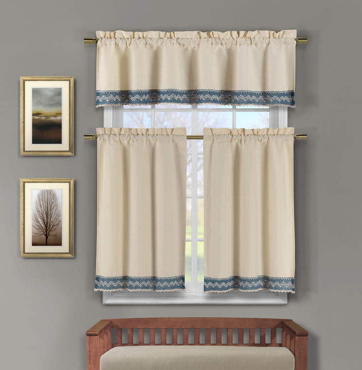 3 Piece Faux Linen Kitchen Window Curtains: Blue Crocheted Lace Border | Bathroom and More