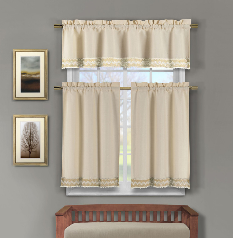 3 Piece Faux Linen Kitchen Window Curtains: Taupe Crocheted Lace Border | Bathroom and More