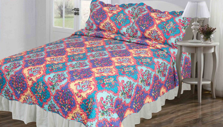 3 Pc Queen/Full Size Reversible Quilt Set:  Paisley Medalion Floral Design, Bright Colors, One Quilt and Two Shams