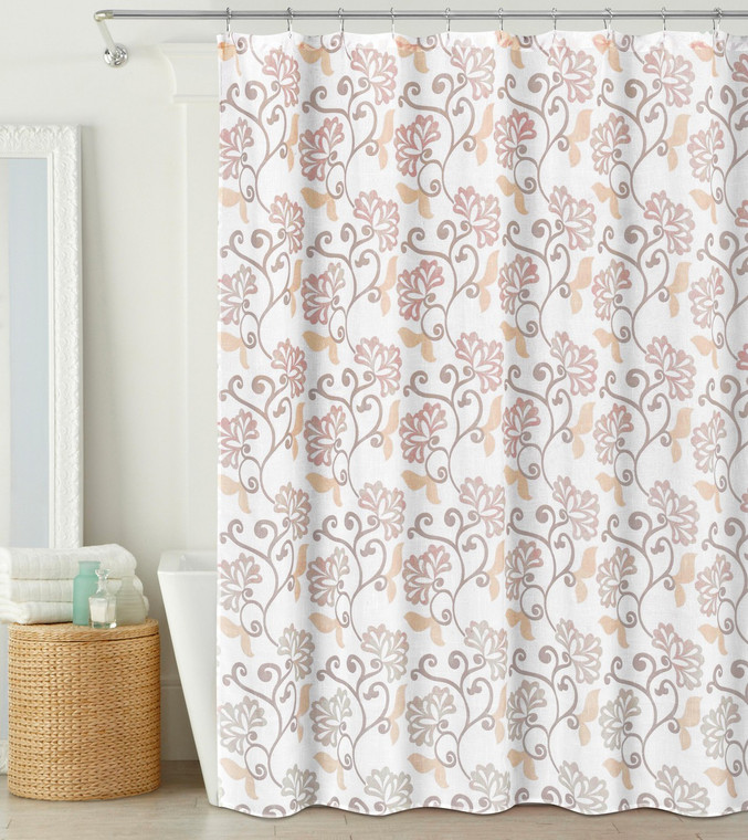 """Fabric Shower Curtain: Semi-Sheer, Blush and Off-White Floral Design, 70"""" x 72"""""""