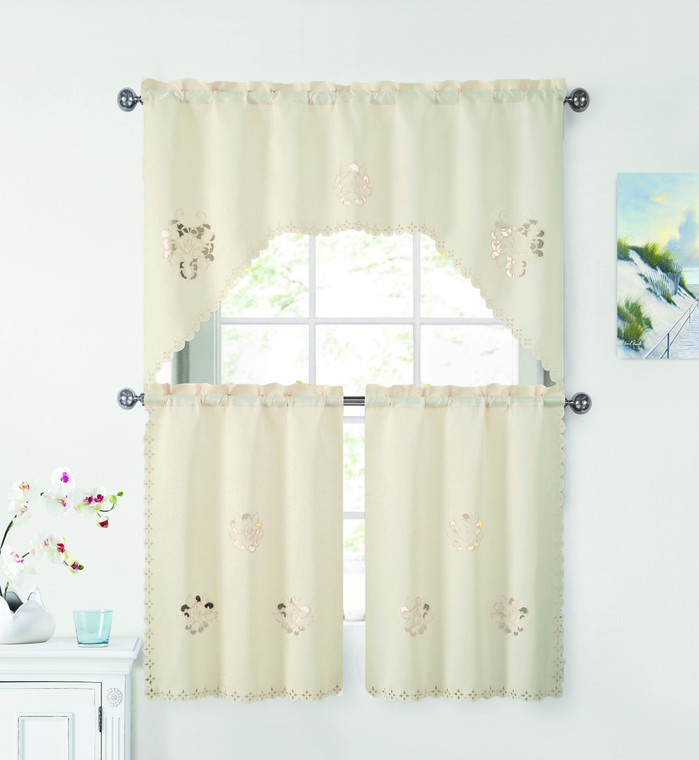 3 Piece Doily Floral Embroidered Kitchen Window Curtain Set: Ivory/Beige, 1 Valance and 2 Tiers