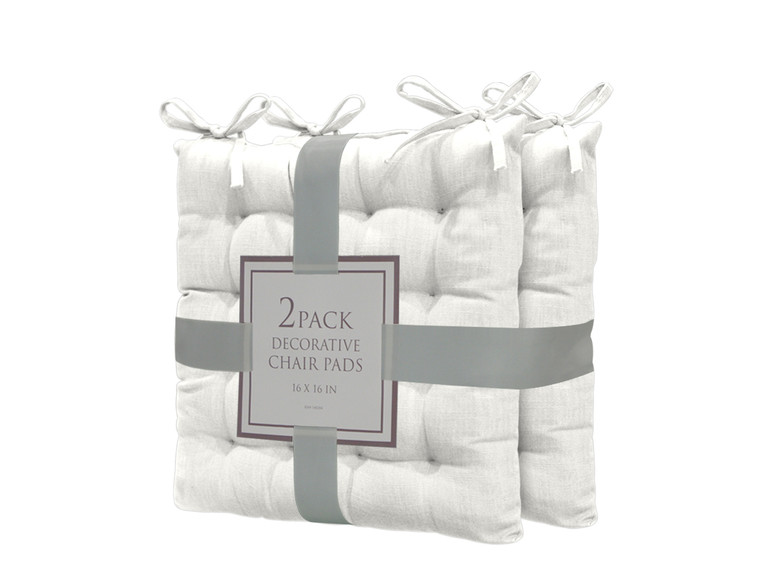 Bathroom and More Set of Two (2) Soft Reversible Tufted Chair Pads Cushions with tie Backs for Kitchen Living Room Office Dining Room: Size 16in X16in (Ivory)