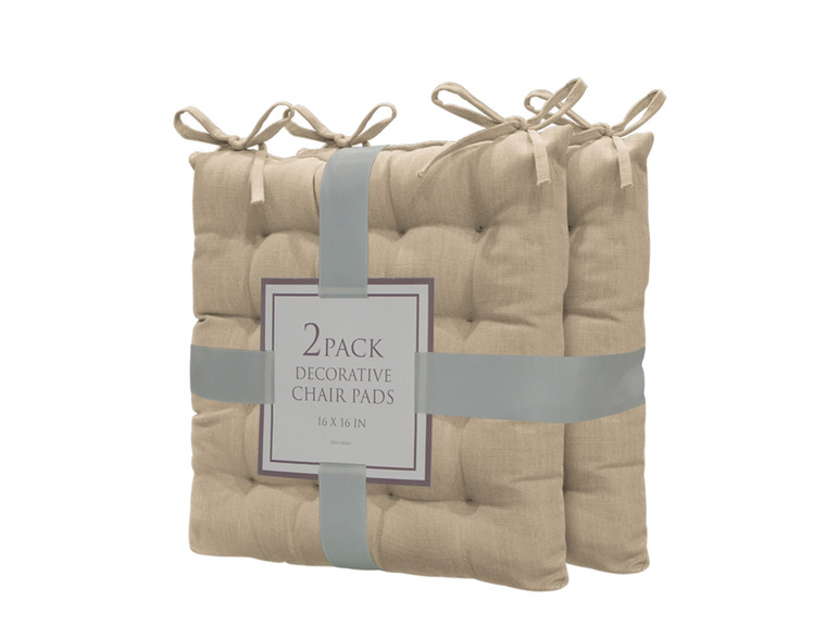 Bathroom and More Set of Two (2) Soft Reversible Tufted Chair Pads Cushions with tie Backs for Kitchen Living Room Office Dining Room: Size 16in X16in (Taupe)