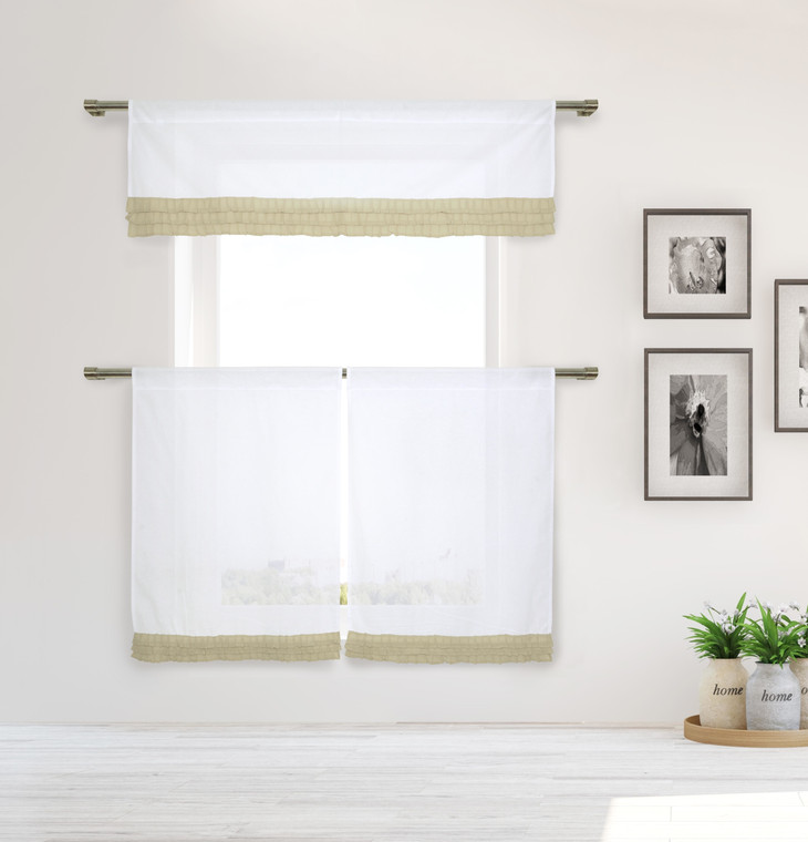 Shabby Chic White 3 Piece Window Curtain Set with Taupe Pleated Ruffles, One Valance, Two Tiers 36 IN Long, 100% Cotton (White and Taupe)