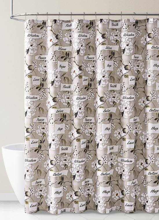 Taupe and White Fabric Shower Curtain Floral and Worlds Design Faith Love Peace 72IN x72 IN